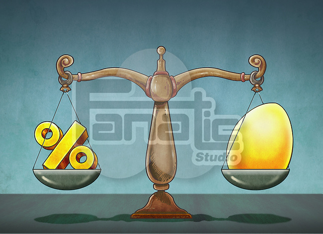 Illustrative image of egg and percentage sign on weighing scale