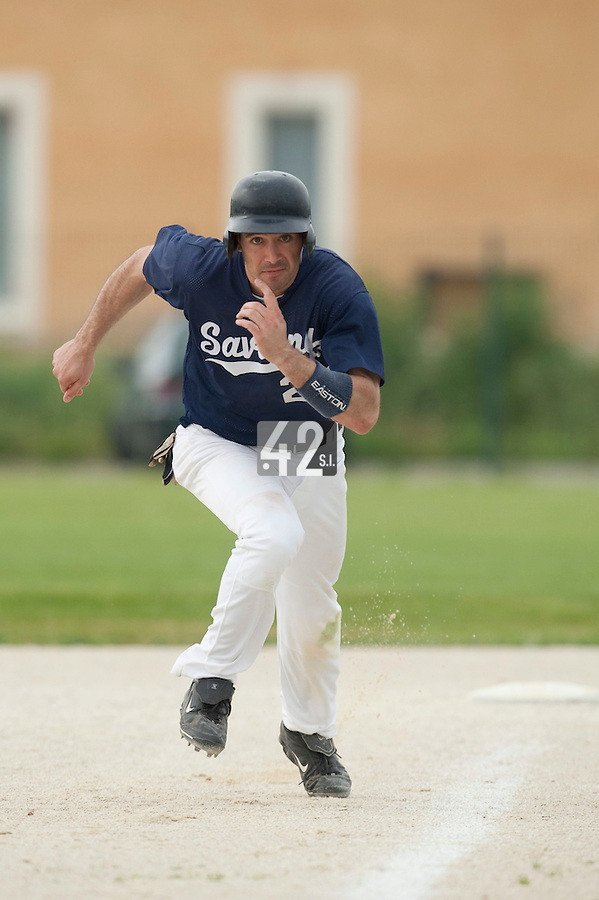 21 May 2009: Jerome Rousseau runs the bases during the 2009 challenge de France, a tournament with the best French baseball teams - all eight elite league clubs - to determine a spot in the European Cup next year, at Montpellier, France.