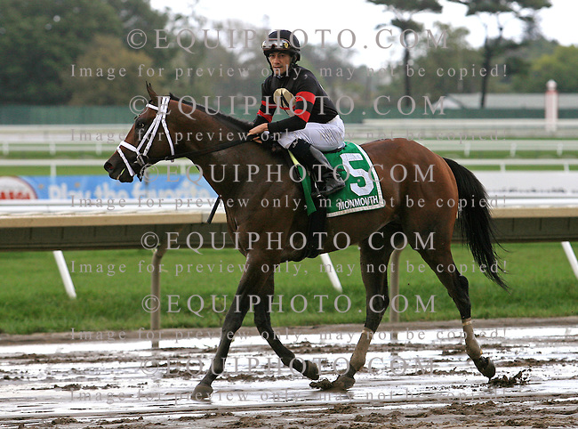 Lord Justice #5 with Chris DeCarlo riding won the $70,000 Big Brown Stakes on closing day at Monmouth Park in Oceanport, N.J.  Photo By Bill Denver/EQUI-PHOTO