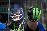 Seahawks fan with mask, Seahawks 12K Run 2016, The Landing, Renton, Washington, USA.