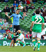 June 4th 2017, Aviva Stadium, Dublin, Ireland; International Friendly, Ireland versus Uruguay;  Sebastián Coates of Uruguay wins the header
