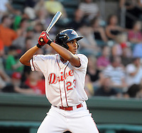 Infielder Xander Bogaerts (23) of the Greenville Drive, Class A affiliate of the Boston Red Sox, in a game against the Hickory Crawdads on July 1, 2011, at Fluor Field at the West End in Greenville, South Carolina. (Tom Priddy/Four Seam Images)