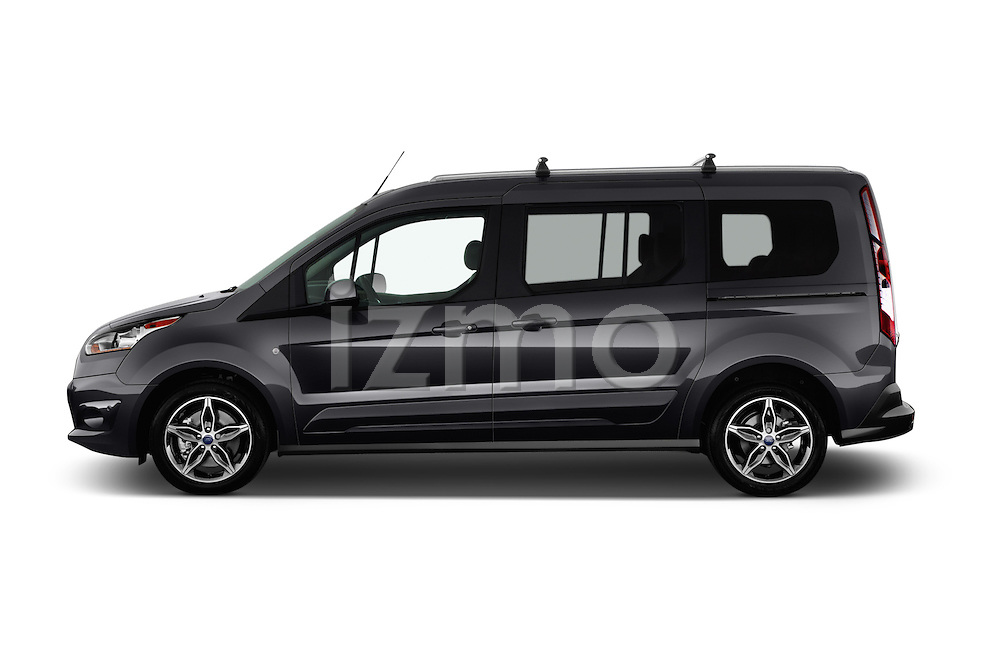 Car Driver side profile view of a 2016 Ford Transit Connect Titanium 5 Door Mini Mpv Side View