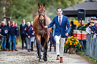 USA-Matthew Flynn presents Wizzerd during the First Horse Inspection for the CCIO4*-L FEI Nations Cup Eventing. 2019 Military Boekelo-Enschede International Horse Trials. Wednesday 9 October. Copyright Photo: Libby Law Photography.