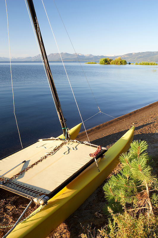 Catamaran boat on shores of Lake Tahoe. California