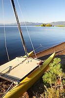 Catamaran boat on shores of Lake Tahoe. California