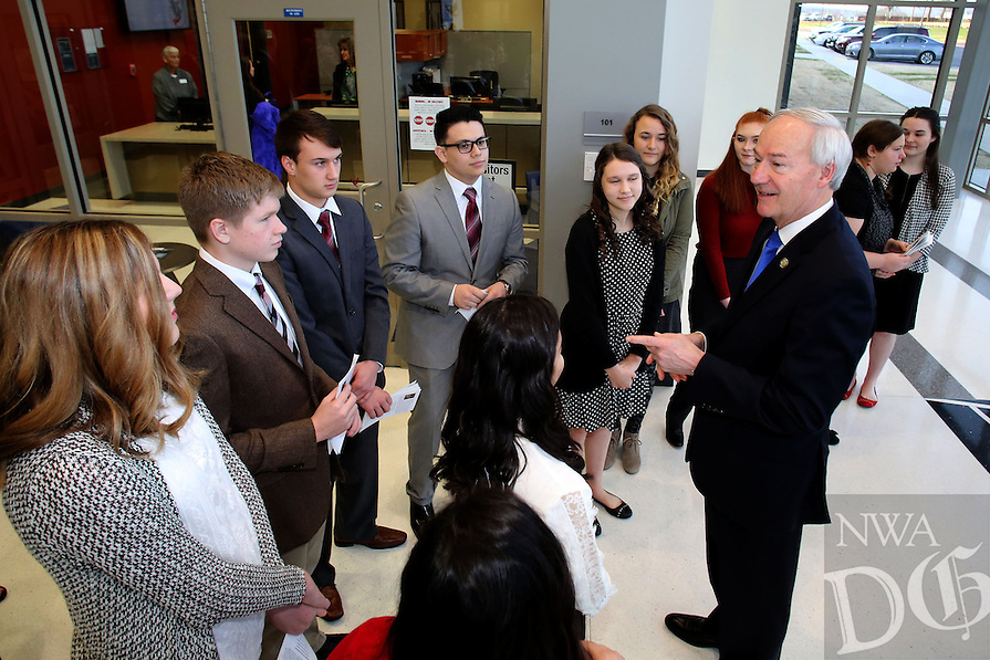 NWA Democrat-Gazette/DAVID GOTTSCHALK   Governor Asa Hutchinson speaks Thursday, February 9, 2017, with students before a dedication ceremony for Springdale's new Don Tyson School of Innovation campus. The school is named after Donald Tyson former chairman and chief executive officer of Tyson Foods. Half of the campus opened in August, with construction wrapping up on the other half in time for this semester.