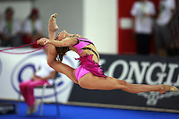 September 21, 2007; Patras, Greece;  Almudena Cid of Spain split leaps with rope during the All-Around final at 2007 World Championships Patras.  Almudena placed 11th in the AA to qualify Spain for one position in the individual All-Around competition at Beijing 2008 Olympics Games and the possibility of making her 4th Olympic Games.  Photo by Tom Theobald. .