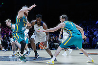 July 14, 2016: WESLEY GORDON (1) of the Colorado Buffaloes drives to the basket during game 2 of the Australian Boomers Farewell Series between the Australian Boomers and the American PAC-12 All-Stars at Hisense Arena in Melbourne, Australia. Sydney Low/AsteriskImages.com