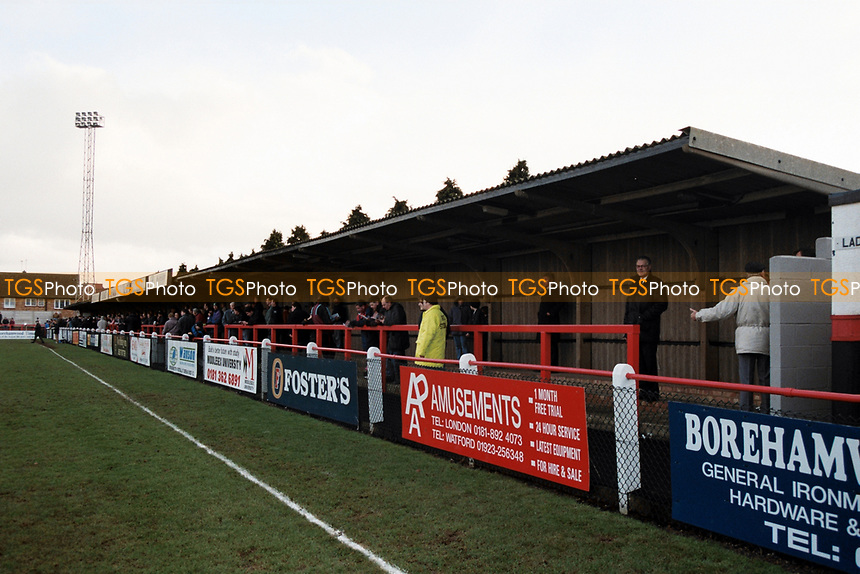 Covered terracing at Boreham Wood FC Football Ground, Meadow Park, Borehamwood, Hertfordshire, pictured on 10th February 1996