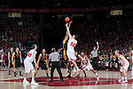 March 3, 2010: The Wisconsin Badgers and the Iowa Hawkeyes battle for the opening tipoff during a Big Ten Conference NCAA basketball game at the Kohl Center on March 3, 2010 in Madison, Wisconsin. The Badgers won 67-40. (Photo by David Stluka)