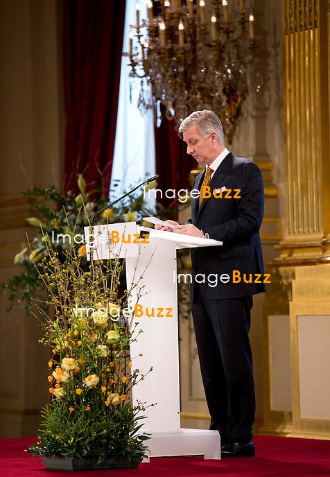 Le roi Philippe a pr&eacute;sente ses v&oelig;ux de nouvel an aux corps constitu&eacute;s (le monde politique, &eacute;conomique, acad&eacute;mique, juridique, etc.), en pr&eacute;sence de la reine Mathilde de Belgique, de la princesse Astrid, du prince Lorenz et du prince Laurent de Belgique, au Palais Royal de Bruxelles.<br /> Belgique, Bruxelles, 29/01/2014.<br /> PIC : King Philippe of Belgium<br /> <br /> King Philippe of Belgium, Queen Mathilde of Belgium,   Princess Astrid of Belgium, Prince Lorenz of Belgium, Prince Laurent of Belgium at a New Year's reception organized by the Belgian Royal Family for the prominent Authorities and Personalities, at the Royal Palace, in Brussels,  Belgium, January 29,  2014.
