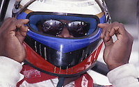NFL Hall of Famer Walter Payton prepares to drive his Renault race car at he Nissan World Challenge IMSA race, Florida State Fairgrounds, September 1990. (Photo by Brian Cleary/www.bcpix.com)