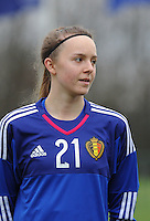20160211 - TUBIZE , BELGIUM : Belgian Lisa Lichtfus pictured during the friendly female soccer match between Women under 17 teams of  Belgium and Switzerland , in Tubize , Belgium . Thursday 11th February 2016 . PHOTO SPORTPIX.BE DIRK VUYLSTEKE