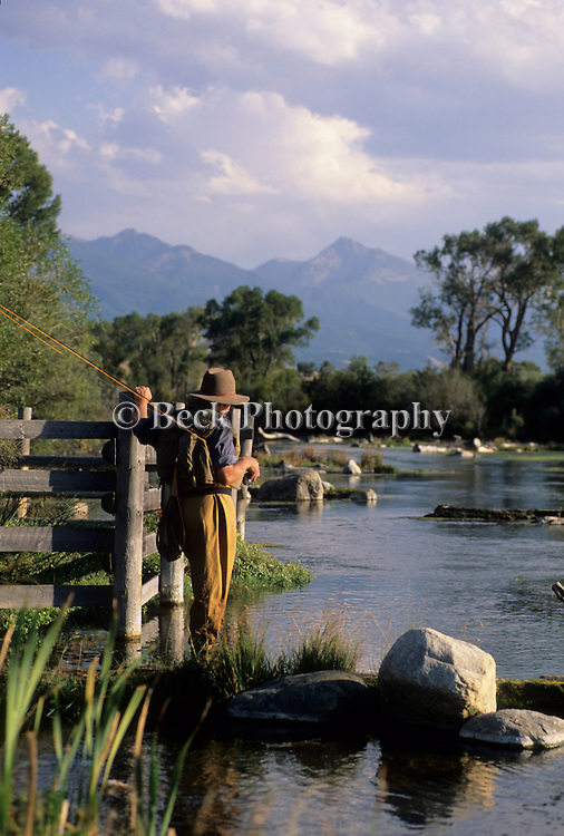 Fly fishing at Nelson's Spring Creek, Montana.