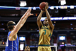 10 March 2016: Notre Dame's V.J. Beachem (3) shoots over Duke's Marshall Plumlee (left). The University of Notre Dame Fighting Irish played the Duke University Blue Devils at the Verizon Center in Washington, DC in the Atlantic Coast Conference Men's Basketball Tournament quarterfinal and a 2015-16 NCAA Division I Men's Basketball game. Notre Dame won the game 84-79 in overtime.