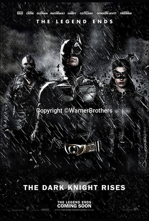 BNPS.co.uk (01202 558833)<br /> Pic: WarnerBrothers/BNPS<br /> <br /> ***Please Use Full Byline***<br /> <br /> The movie poster for the most recent Batman film, The Dark Knight Rises (20/07/12).<br /> <br /> The world's first Batmobile has emerged for sale for a whopping &pound;300,000 after being rescued from a field where it spent almost 50 years languishing.<br /> <br /> Batman's famous car was built more than 50 years ago from a 1956 Oldsmobile 88 that was converted to look just like the one from the comic books which made the Caped Crusader famous.<br /> <br /> It is a far cry from the Batmobile that appeared in Christopher Nolan's modern remakes of Batman.<br /> <br /> But as the first Batmobile ever built, experts at Dallas-based Heritage Auctions say it could sell for as much as $500,000 - more than &pound;300,000.