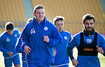 St Johnstone Training….17.02.17<br />Brain Easton Richie Foster pictured during training this morning at McDiarmid Park ahead of tomorrow's trip to Dingwall<br />Picture by Graeme Hart.<br />Copyright Perthshire Picture Agency<br />Tel: 01738 623350  Mobile: 07990 594431