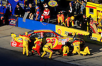 Nov. 1, 2009; Talladega, AL, USA; NASCAR Sprint Cup Series driver Kevin Harvick pits after crashing during the Amp Energy 500 at the Talladega Superspeedway. Mandatory Credit: Mark J. Rebilas-