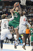 Real Madrid's Andres Nocioni (l) and Marcus Slaughter (r) and Panathinaikos Athens' Esteban Batista during Euroleague match.January 22,2015. (ALTERPHOTOS/Acero) /NortePhoto<br />