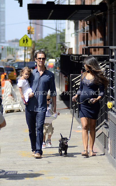 WWW.ACEPIXS.COM . . . . .  ....August 26 2012, New York City....Actor Matthew McConaughey and his pregnant wife Camila Alves take their children Levi and Vida for a stroll in Tribeca on August 26 2012 in New York City....Please byline: CURTIS MEANS - ACE PICTURES.... *** ***..Ace Pictures, Inc:  ..Philip Vaughan (212) 243-8787 or (646) 769 0430..e-mail: info@acepixs.com..web: http://www.acepixs.com