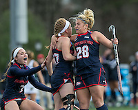 Easton, Massachusetts - November 20, 2016: NCAA Division II Field Hockey Championship final. Shippensburg University (blue) defeated LIU Post (white), 2-1, on Coughlin Memorial Field, in W.B. Mason Stadium at Stonehill College. Emily Barnard celebrates her goal.
