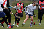 GER - Mainz, Germany, March 20: During the 1. Bundesliga Damen lacrosse match between Mainz Musketeers (white) and SC Frankfurt 1880 (red) on March 20, 2016 at Sportgelaende Dalheimer Weg in Mainz, Germany. Final score 7-12 (HT 3-5). (Photo by Dirk Markgraf / www.265-images.com) *** Local caption *** Magdalena Jones #20 of Mainz Musketeers