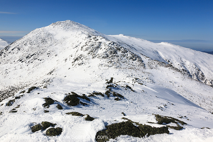Mount Adams from the Appalachian Trail on the summit of Mount Madison in the Presidential Range during the winter months in the White Mountains, New Hampshire.
