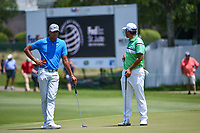 Tony Finau (USA) and Hideki Matsuyama (JPN) wait to putt on 12 during round 2 of the WGC FedEx St. Jude Invitational, TPC Southwind, Memphis, Tennessee, USA. 7/26/2019.<br /> Picture Ken Murray / Golffile.ie<br /> <br /> All photo usage must carry mandatory copyright credit (© Golffile | Ken Murray)