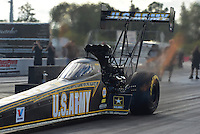 Jan. 16, 2013; Jupiter, FL, USA: NHRA top top fuel dragster driver Tony Schumacher during testing at the PRO Winter Warmup at Palm Beach International Raceway.  Mandatory Credit: Mark J. Rebilas-
