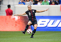 Heather Mitts (2) of the USWNT  passes the ball during the game at Red Bull Arena in Harrison, NJ.  The USWNT defeated Mexico, 1-0.