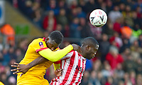 Lincoln City's John Akinde vies for possession with  Northampton Town's Aaron Pierre<br /> <br /> Photographer Andrew Vaughan/CameraSport<br /> <br /> Emirates FA Cup First Round - Lincoln City v Northampton Town - Saturday 10th November 2018 - Sincil Bank - Lincoln<br />  <br /> World Copyright © 2018 CameraSport. All rights reserved. 43 Linden Ave. Countesthorpe. Leicester. England. LE8 5PG - Tel: +44 (0) 116 277 4147 - admin@camerasport.com - www.camerasport.com