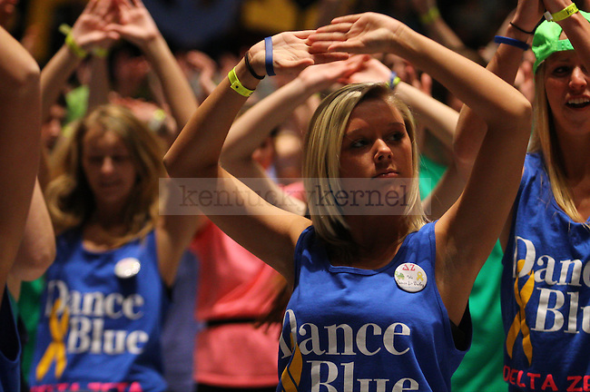 Nursing freshman Jackie Lambert dances at DanceBlue 2013 at Memorial Coliseum in Lexington, Ky., on Friday, February 22, 2013. Photo by Michael Reaves | Staff