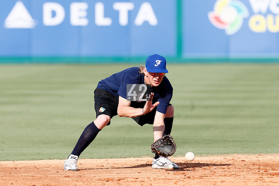 18 September 2012: France Luc Piquet eyes the ball during Team France practice, at the 2012 World Baseball Classic Qualifier round, in Jupiter, Florida, USA.
