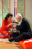 Japaneses couple having tea.