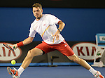Stanislaus Wawrinka (SUI) defeats Tomas Berdych (CZE) 6-3, 6-7, 7-6, 7-6 to move into the finals at the Australian Open in Melbourne, Australia on January 23, 2014.