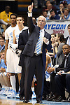 02 February 2013: UNC head coach Roy Williams. The University of North Carolina Tar Heels played the Virginia Tech Hokies at the Dean E. Smith Center in Chapel Hill, North Carolina in an NCAA Division I Men's college basketball game. UNC won the game 72-60 after overtime.