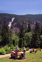 "People having Picnic in Shannon Falls Provincial Park near Squamish, BC, British Columbia, Canada - along ""Sea to Sky"" Highway 99"