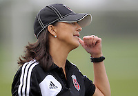 BOYDS, MARYLAND - July 21, 2012:  Assistant coach Cindi Harkes of DC United Women before playing against the Virginia Beach Piranhas during a W League Eastern Conference Championship semi final match at Maryland Soccerplex, in Boyds, Maryland on July 21. DC United Women won 3-0.