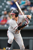 First baseman Austin Bush (48) of the Rome Braves bats in a game against the Columbia Fireflies on Sunday, July 2, 2017, at Spirit Communications Park in Columbia, South Carolina. Columbia won, 3-2. (Tom Priddy/Four Seam Images)