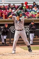 Beloit Snappers catcher Santiago Chavez (15) at bat during a Midwest League game against the Wisconsin Timber Rattlers on April 10th, 2016 at Fox Cities Stadium in Appleton, Wisconsin.  Wisconsin defeated Beloit  4-2. (Brad Krause/Four Seam Images)