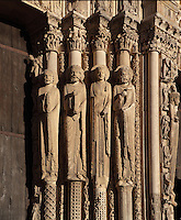 L-r; a prophet, David, a queen, Solomon and a plain column, from the right splay of the central bay of the Royal Portal, 1142-50, Western facade, Chartres cathedral, Eure-et-Loir, France. Chartres cathedral was built 1194-1250 and is a fine example of Gothic architecture. It was declared a UNESCO World Heritage Site in 1979. Picture by Manuel Cohen.