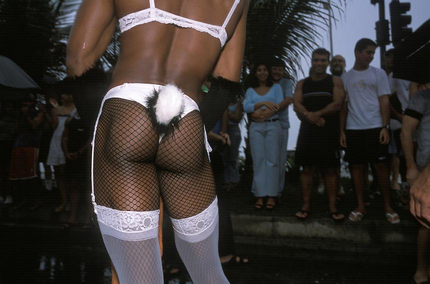 ?One of dozens of Banda de Ipanema transvestites works the crowd along the parade route in Rio de Janeiro.