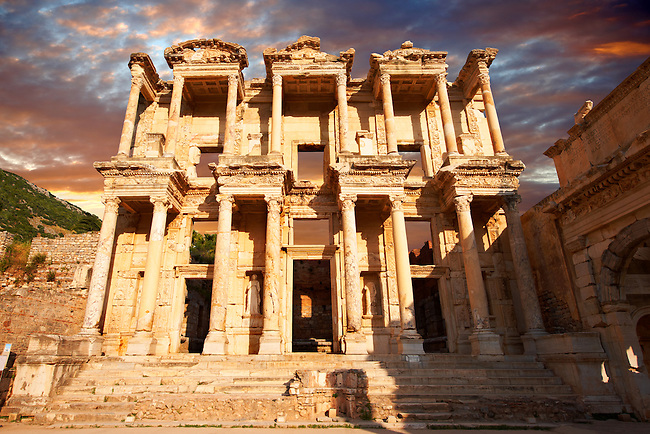 Picture of The library of Celsusat sunrise . Images of the Roman ruins of Ephasus, Turkey. Stock Picture & Photo art prints 1