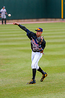 Cedar Rapids Kernels infielder Royce Lewis (30) warms up prior to a Midwest League game against the Kane County Cougars on April 21, 2018 at Perfect Game Field at Veterans Memorial Stadium in Cedar Rapids, Iowa. Kane County defeated Cedar Rapids 9-2. (Brad Krause/Four Seam Images)
