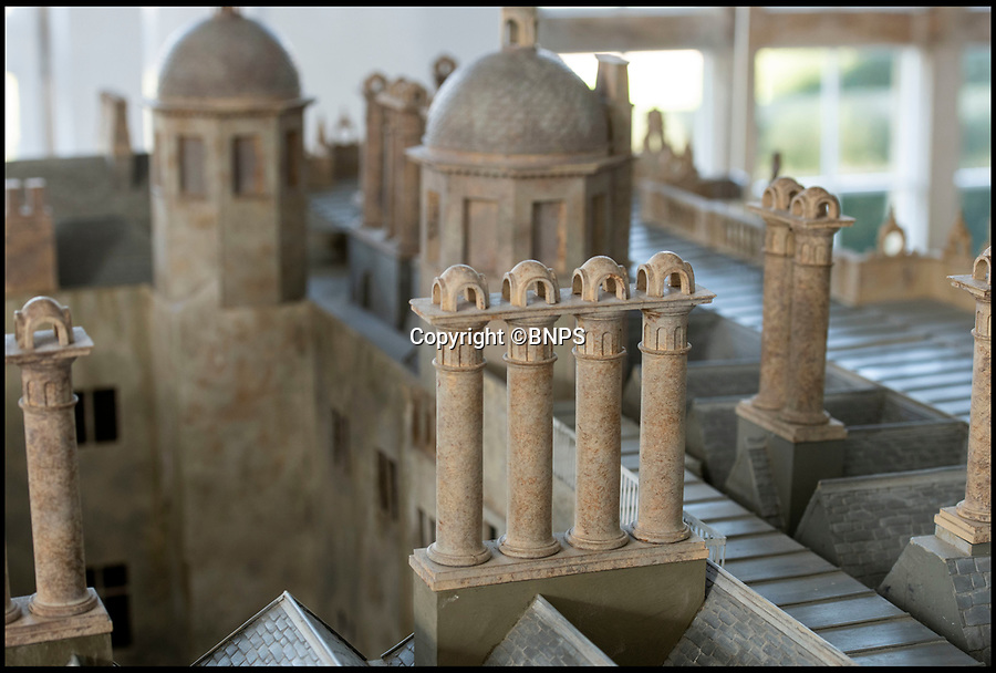 BNPS.co.uk (01202 558833)<br /> Pic: PhilYeomans/BNPS<br /> <br /> The Mansion has many turrets and chimney pots - a sign of wealth in Elizabethan England.<br /> <br /> This stunning model of one of Britain's finest stately homes has been painstakingly restored after languishing in a store room for the last seven years.<br /> <br /> The 1/25 scale model of Longleat House in Wiltshire was commissioned by the 6th Marquess of Bath in 1988 and went on display in the 16th Century mansion's butchery.<br /> <br /> But it was broken up into 50 pieces and put into storage when the home underwent renovations several years ago.<br /> <br /> Kim Ward, 60, and his six man team have spent the past two months restoring the model to its former glory.