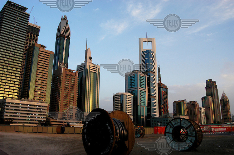 Buildings along Sheikh Zayed Road, home to most of Dubai's skyscrapers.