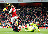 Olivier Giroud of Arsenal sees the chance disappear during the Premier League match between Arsenal and Huddersfield Town at the Emirates Stadium, London, England on 29 November 2017. Photo by Carlton Myrie / PRiME Media Images.