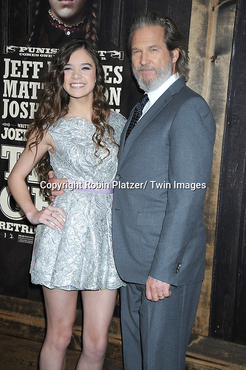 "Hailee Steinfeld and Jeff Bridges attending The New York Premiere of .""True Grit"" on December 14, 2010 at The Ziegfeld Theatre. The movie stars Jeff Bridges, Matt Damon and Hailee Steinfeld."