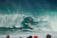 PIPELINE, Oahu/Hawaii (Wednesday, Bruce Irons (HAW).   December 8, 2010) - Day 1 of the Billabong Pipe Masters in Memory of Andy Irons, the third and final stop on the Vans Triple Crown of Surfing (an ASP Specialty Series) got underway today, with Rounds 1 and 2 completed in challenging six foot (2 metre) waves at the Banzai Pipeline on Oahu's North Shore.. .The final stop on the 2010 ASP World Tour, the Billabong Pipe Masters in Memory of Andy Irons utilized the ASP's Dual Heat Format today, overlapping the man-on-man matches to take advantage of the swell on offer. With a smattering of Pipeline specialists lining the field, the world's best surfers campaigned against one another and the elements to ensure their position amongst the world's best surfers for 2011.. .Dusty Payne (HAW), 21, 2010 ASP World Tour rookie, currently sits at No. 36 on the ASP World Rankings in need of at least an Equal 9th to vault himself into a requalification spot for 2011..Payne faces two-time ASP World Champion Mick Fanning (AUS), 29, in Round 3 of the Billabong Pipe Masters in Memory of Andy Irons.. .Joel Parkinson (AUS), 29, in his first ASP World Tour event back since injury, posted a convincing Round 2 victory over wildcard Heitor Alves (BRA), 28, in trying conditions out at Pipeline.. .Photo: joliphotos.com